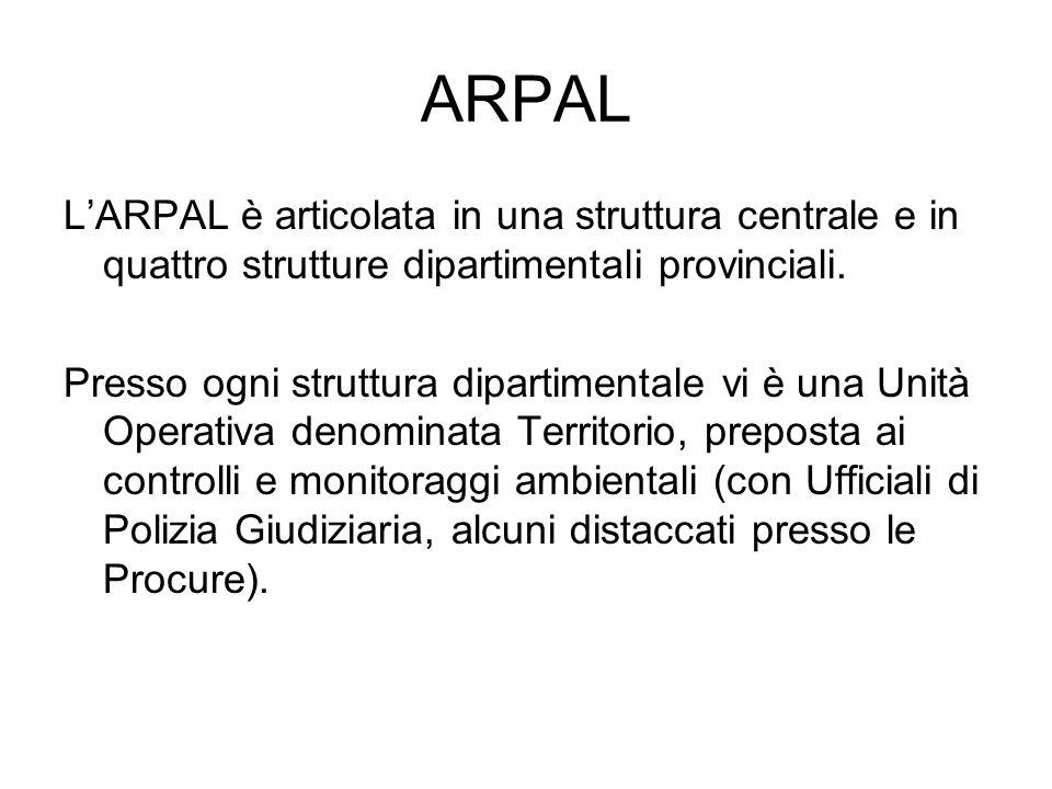 ARPAL L'ARPAL è articolata in una struttura centrale e in quattro strutture dipartimentali provinciali. Presso ogni struttura dipartimentale vi è una