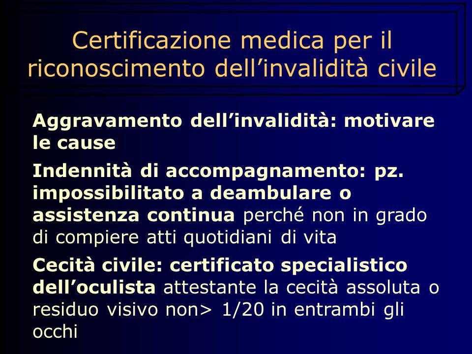 Certificazione medica per il riconoscimento dell'invalidità civile Aggravamento dell'invalidità: motivare le cause Indennità di accompagnamento: pz. i
