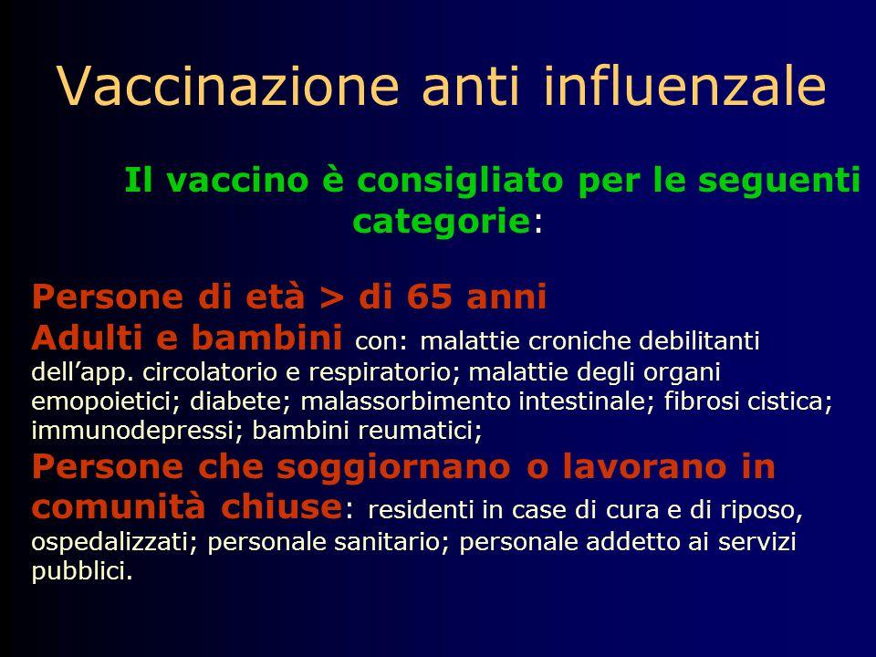 Vaccinazione anti influenzale Il vaccino è consigliato per le seguenti categorie: Persone di età > di 65 anni Adulti e bambini con: malattie croniche