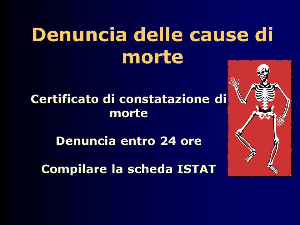 Denuncia delle cause di morte Certificato di constatazione di morte Denuncia entro 24 ore Compilare la scheda ISTAT
