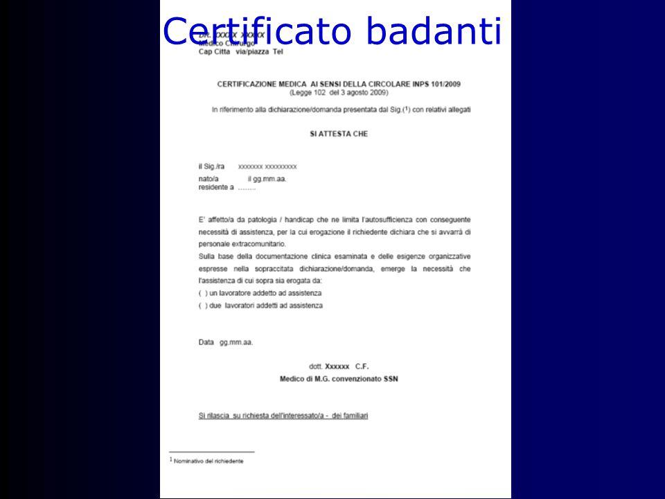 Certificato badanti