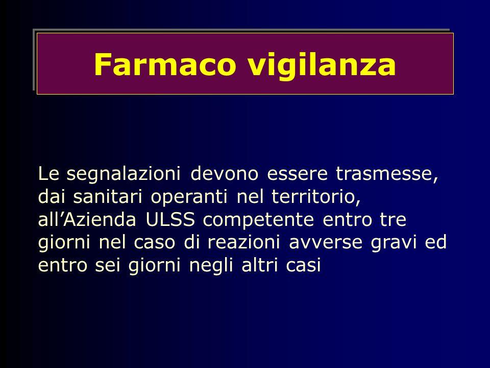 Farmaco vigilanza Le segnalazioni devono essere trasmesse, dai sanitari operanti nel territorio, all'Azienda ULSS competente entro tre giorni nel caso