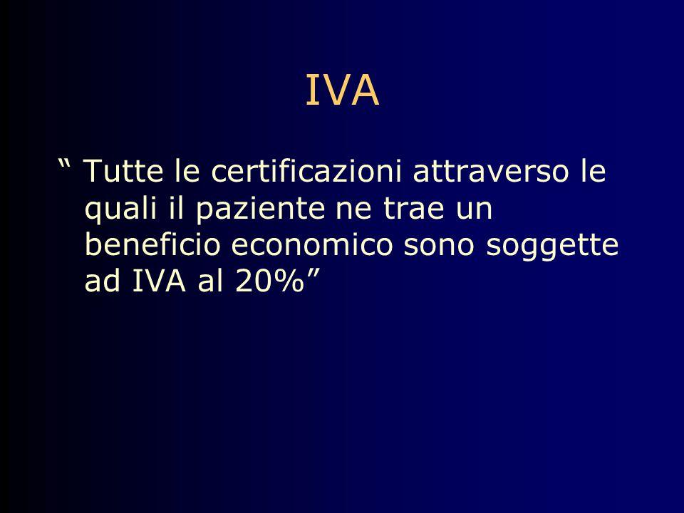 """IVA """" Tutte le certificazioni attraverso le quali il paziente ne trae un beneficio economico sono soggette ad IVA al 20%"""""""