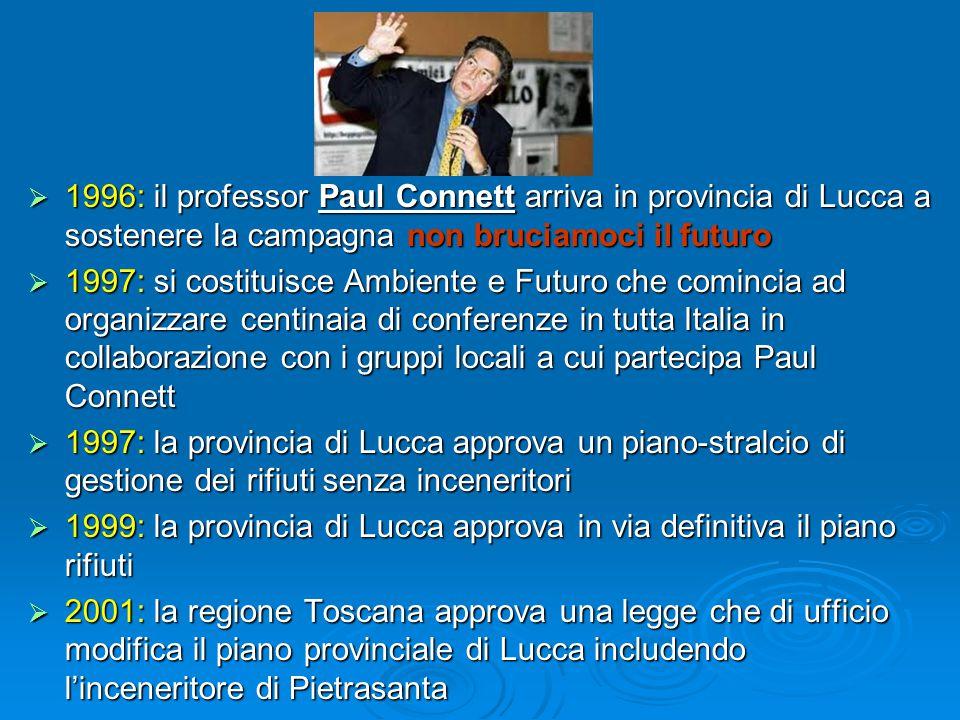  1996: il professor Paul Connett arriva in provincia di Lucca a sostenere la campagna non bruciamoci il futuro  1997: si costituisce Ambiente e Futuro che comincia ad organizzare centinaia di conferenze in tutta Italia in collaborazione con i gruppi locali a cui partecipa Paul Connett  1997: la provincia di Lucca approva un piano-stralcio di gestione dei rifiuti senza inceneritori  1999: la provincia di Lucca approva in via definitiva il piano rifiuti  2001: la regione Toscana approva una legge che di ufficio modifica il piano provinciale di Lucca includendo l'inceneritore di Pietrasanta