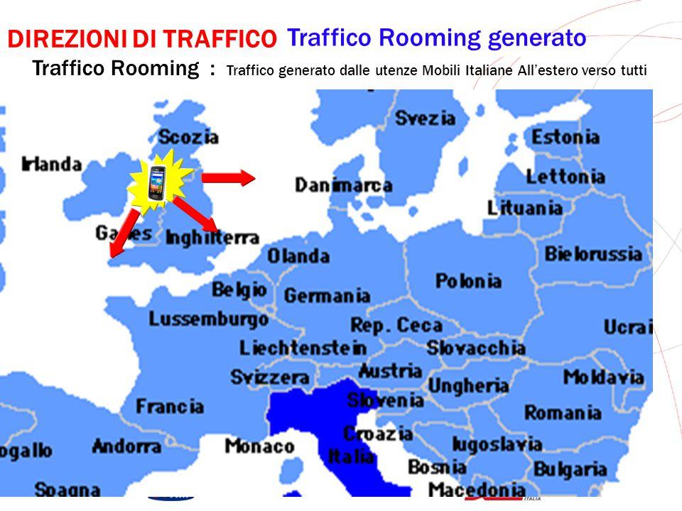 GRUPPO TELECOM ITALIA DIREZIONI DI TRAFFICO Traffico Rooming Ricevuto Traffico Rooming : Traffico Ricevuto dalle utenze Mobili Italiane All'estero da tutti