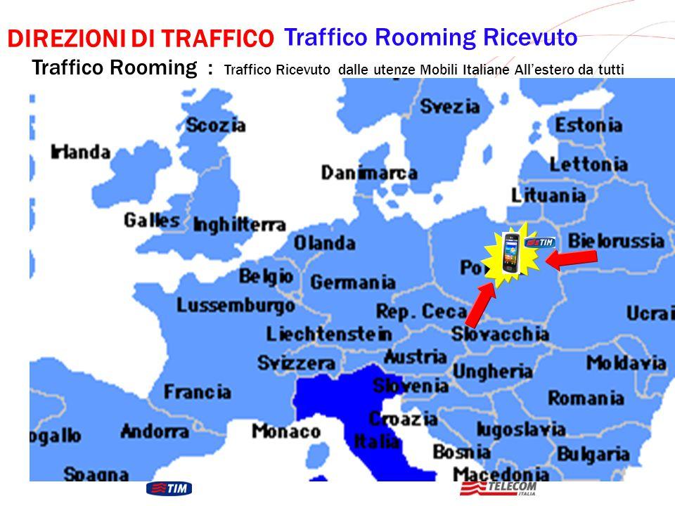 GRUPPO TELECOM ITALIA DIREZIONI DI TRAFFICO Traffico Rooming Ricevuto Traffico Rooming : Traffico Ricevuto dalle utenze Mobili Italiane All'estero da