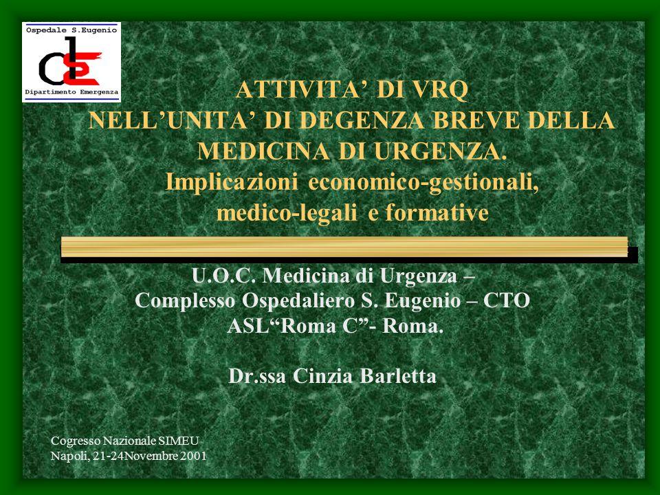 Cogresso Nazionale SIMEU Napoli, 21-24Novembre 2001 ATTIVITA' DI VRQ NELL'UNITA' DI DEGENZA BREVE DELLA MEDICINA DI URGENZA.