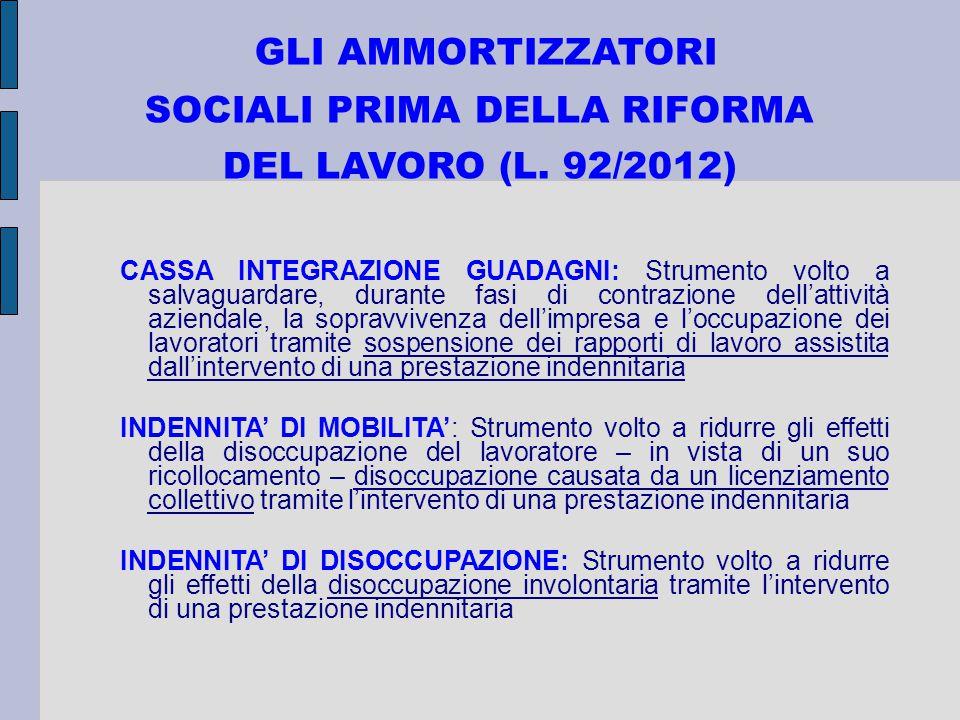 GLI AMMORTIZZATORI SOCIALI PRIMA DELLA RIFORMA DEL LAVORO (L. 92/2012) CASSA INTEGRAZIONE GUADAGNI: Strumento volto a salvaguardare, durante fasi di c