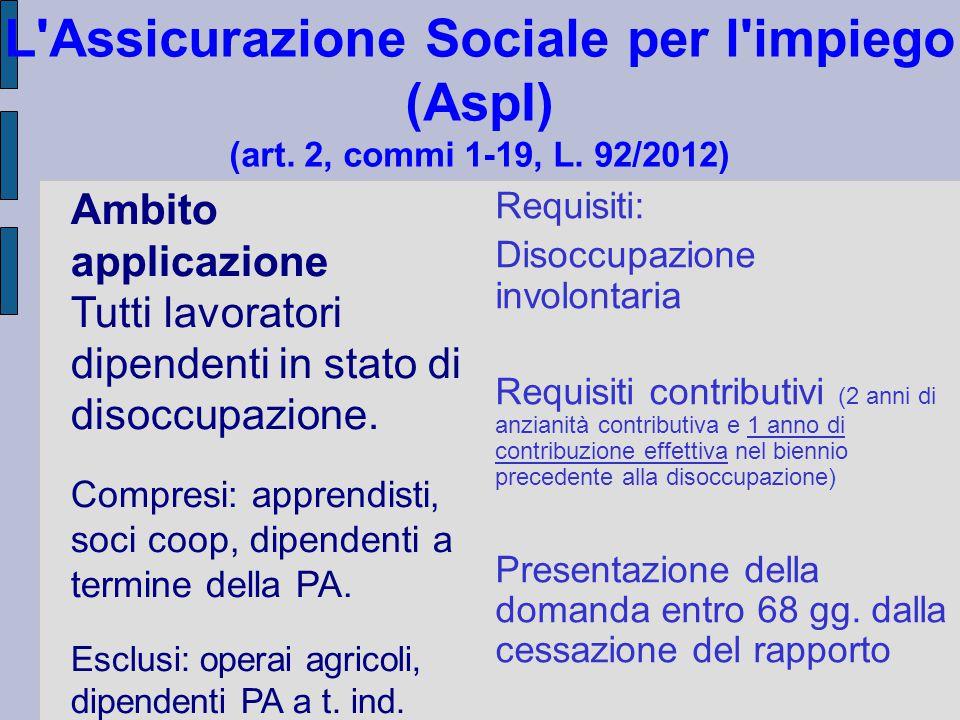 L'Assicurazione Sociale per l'impiego (AspI) (art. 2, commi 1-19, L. 92/2012) Ambito applicazione Tutti lavoratori dipendenti in stato di disoccupazio