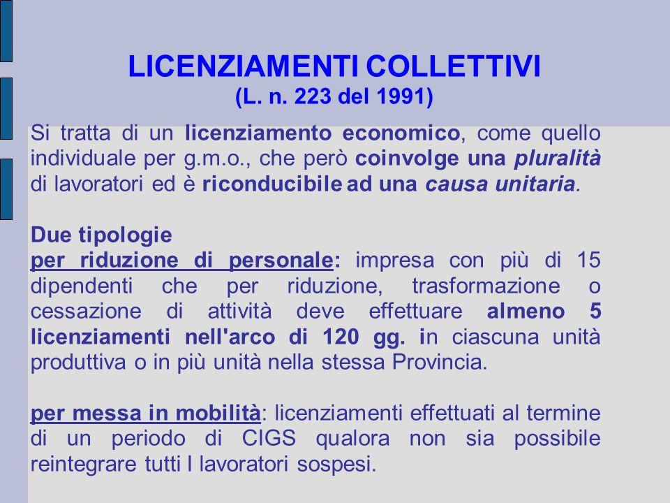 LICENZIAMENTI COLLETTIVI (L. n. 223 del 1991) Si tratta di un licenziamento economico, come quello individuale per g.m.o., che però coinvolge una plur