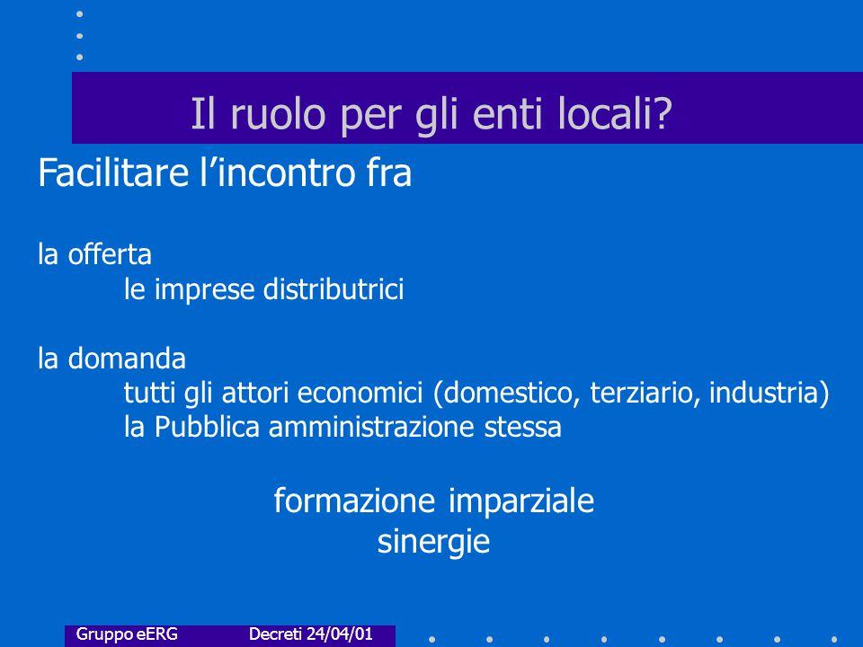 Il ruolo per gli enti locali.