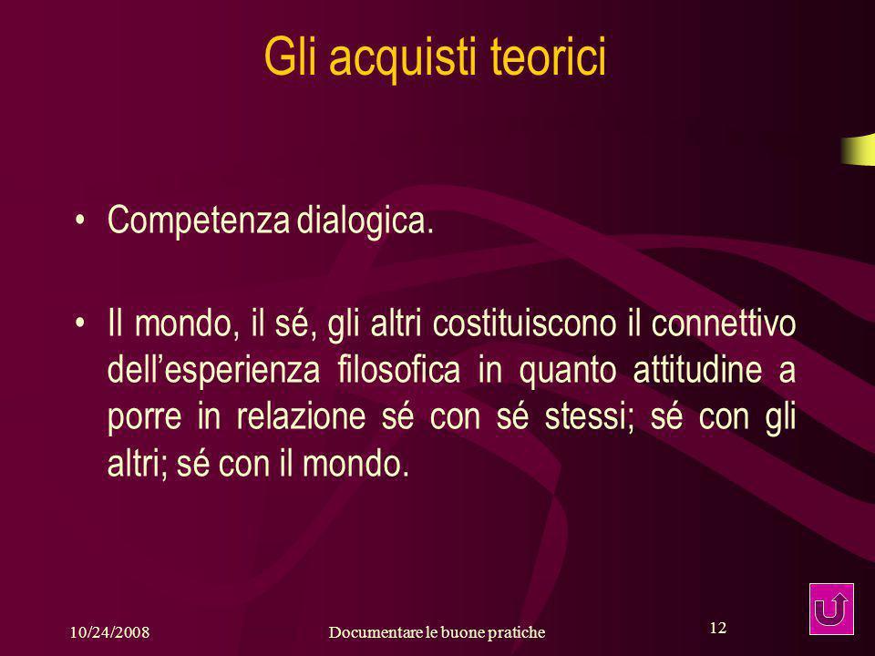 12 10/24/2008Documentare le buone pratiche 12 Gli acquisti teorici Competenza dialogica.