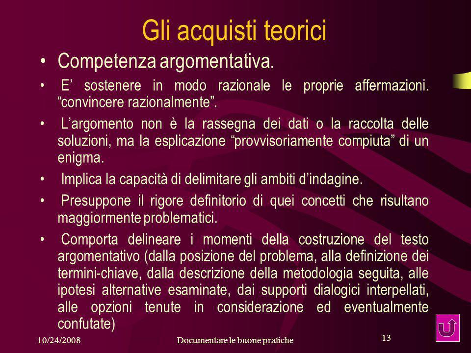 13 10/24/2008Documentare le buone pratiche 13 Gli acquisti teorici Competenza argomentativa.