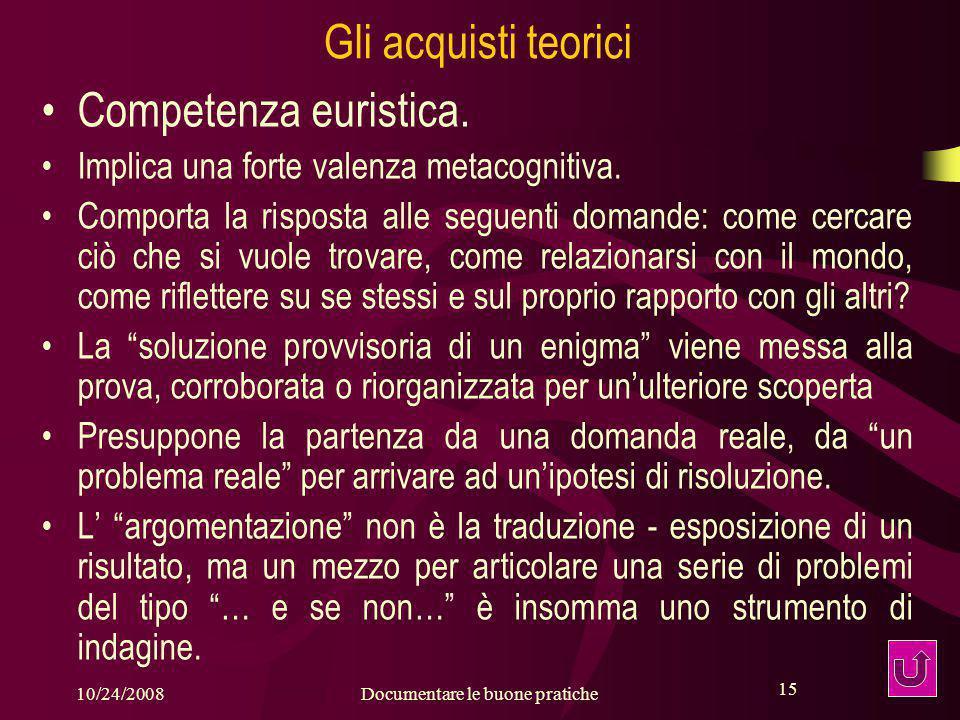 15 10/24/2008Documentare le buone pratiche 15 Gli acquisti teorici Competenza euristica.