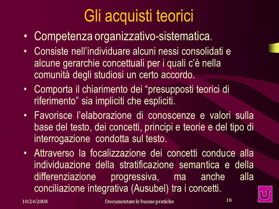16 10/24/2008Documentare le buone pratiche 16 Gli acquisti teorici Competenza organizzativo-sistematica.