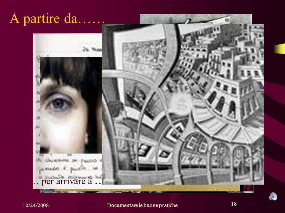 18 10/24/2008Documentare le buone pratiche 18 A partire da…… attraverso … per arrivare a...