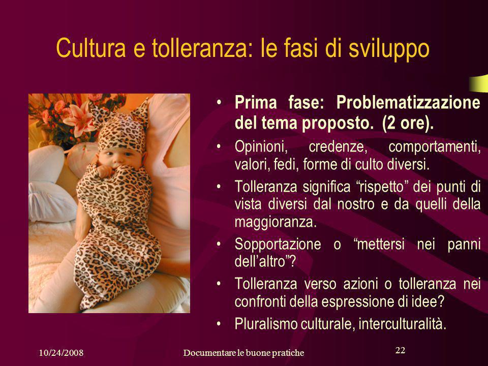 22 10/24/2008Documentare le buone pratiche 22 Cultura e tolleranza: le fasi di sviluppo Prima fase: Problematizzazione del tema proposto.