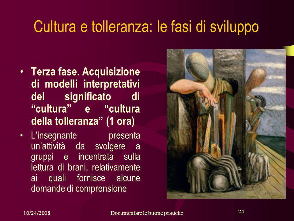 24 10/24/2008Documentare le buone pratiche 24 Cultura e tolleranza: le fasi di sviluppo Terza fase.