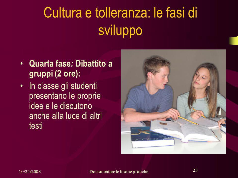 25 10/24/2008Documentare le buone pratiche 25 Cultura e tolleranza: le fasi di sviluppo Quarta fase : Dibattito a gruppi (2 ore): In classe gli studenti presentano le proprie idee e le discutono anche alla luce di altri testi