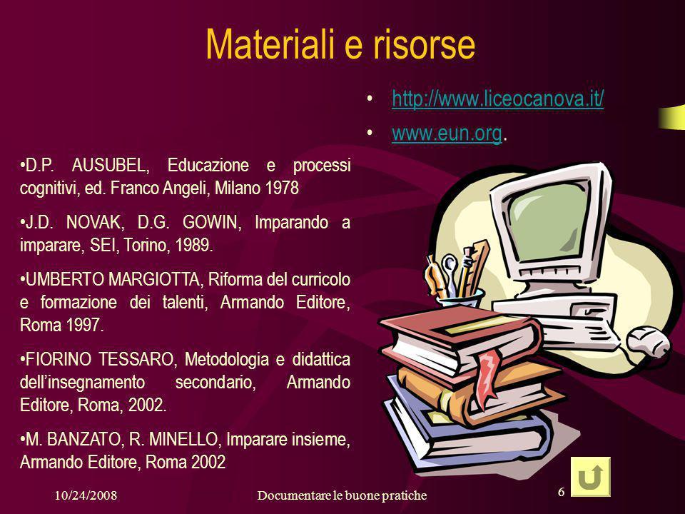 6 10/24/2008Documentare le buone pratiche 6 Materiali e risorse http://www.liceocanova.it/ www.eun.org.www.eun.org D.P.