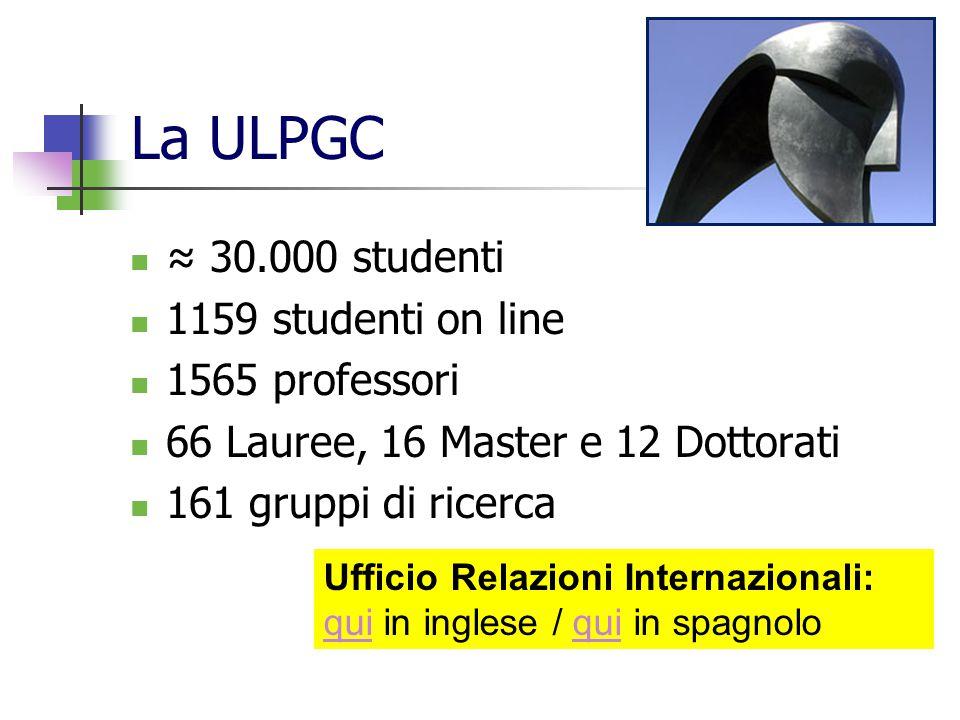 La ULPGC ≈ 30.000 studenti 1159 studenti on line 1565 professori 66 Lauree, 16 Master e 12 Dottorati 161 gruppi di ricerca Ufficio Relazioni Internazi