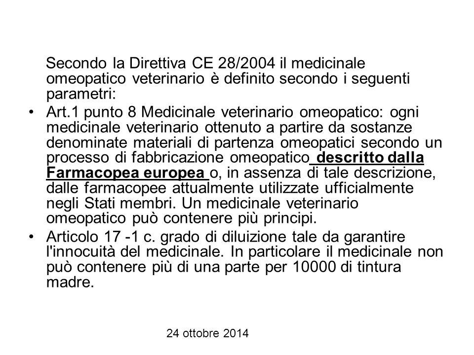 24 ottobre 2014 I medicinali omeopatici con AIC veterinario di fatto non soddisfano le esigenze cliniche relative alla cura degli animali secondo il paradigma e la metodologia omeopatiche.