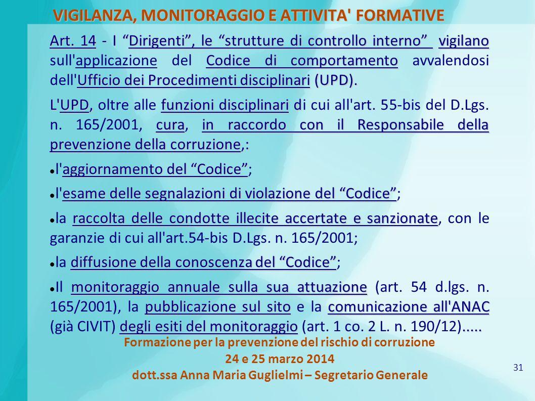 31 Formazione per la prevenzione del rischio di corruzione 24 e 25 marzo 2014 dott.ssa Anna Maria Guglielmi – Segretario Generale VIGILANZA, MONITORAGGIO E ATTIVITA FORMATIVE Art.