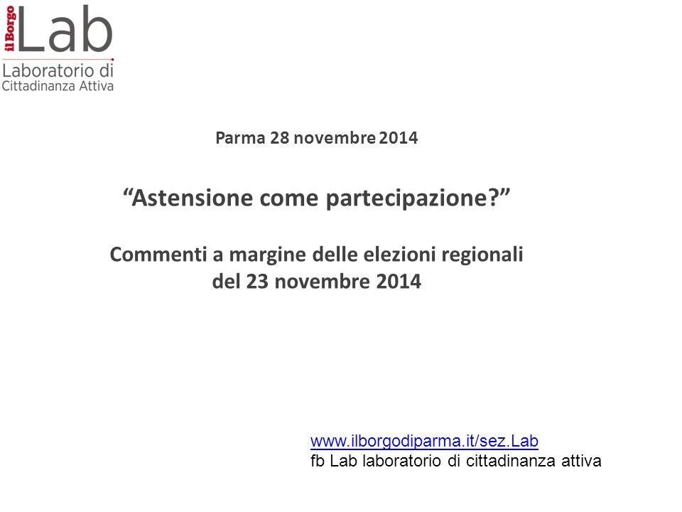 Parma 28 novembre 2014 Astensione come partecipazione Commenti a margine delle elezioni regionali del 23 novembre 2014 www.ilborgodiparma.it/sez.Lab fb Lab laboratorio di cittadinanza attiva