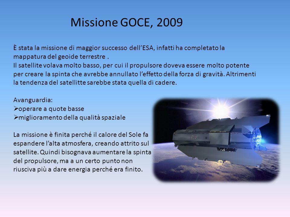 Missione GOCE, 2009 È stata la missione di maggior successo dell'ESA, infatti ha completato la mappatura del geoide terrestre. Il satellite volava mol
