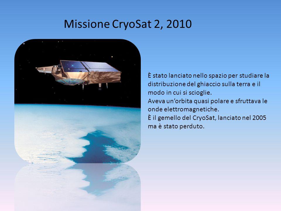 Missione CryoSat 2, 2010 È stato lanciato nello spazio per studiare la distribuzione del ghiaccio sulla terra e il modo in cui si scioglie. Aveva un'o