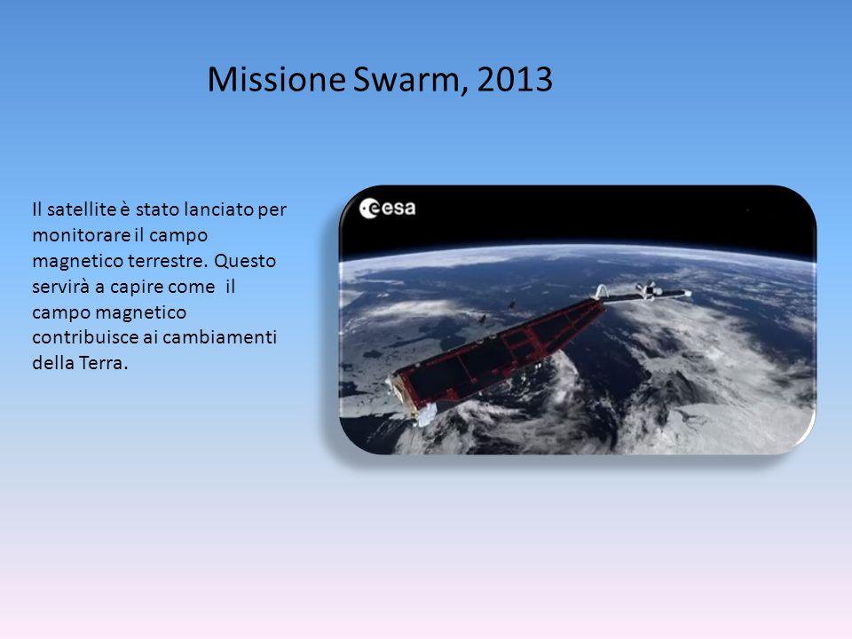 Missione Swarm, 2013 Il satellite è stato lanciato per monitorare il campo magnetico terrestre. Questo servirà a capire come il campo magnetico contri