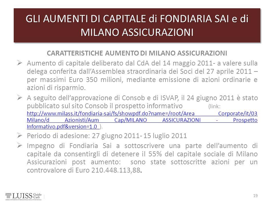 CARATTERISTICHE AUMENTO DI MILANO ASSICURAZIONI  Aumento di capitale deliberato dal CdA del 14 maggio 2011- a valere sulla delega conferita dall'Asse