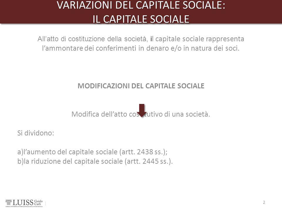 VARIAZIONI DEL CAPITALE SOCIALE: IL CAPITALE SOCIALE VARIAZIONI DEL CAPITALE SOCIALE: IL CAPITALE SOCIALE 2 All'atto di costituzione della società, i
