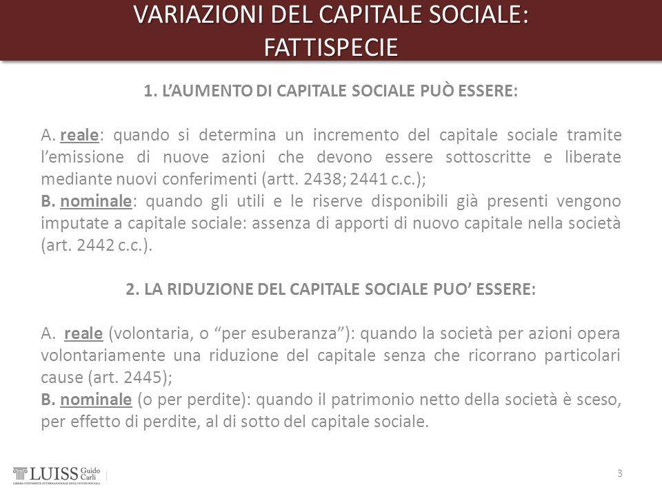 VARIAZIONI DEL CAPITALE SOCIALE: FATTISPECIE FATTISPECIE 1. L'AUMENTO DI CAPITALE SOCIALE PUÒ ESSERE: A. reale: quando si determina un incremento del