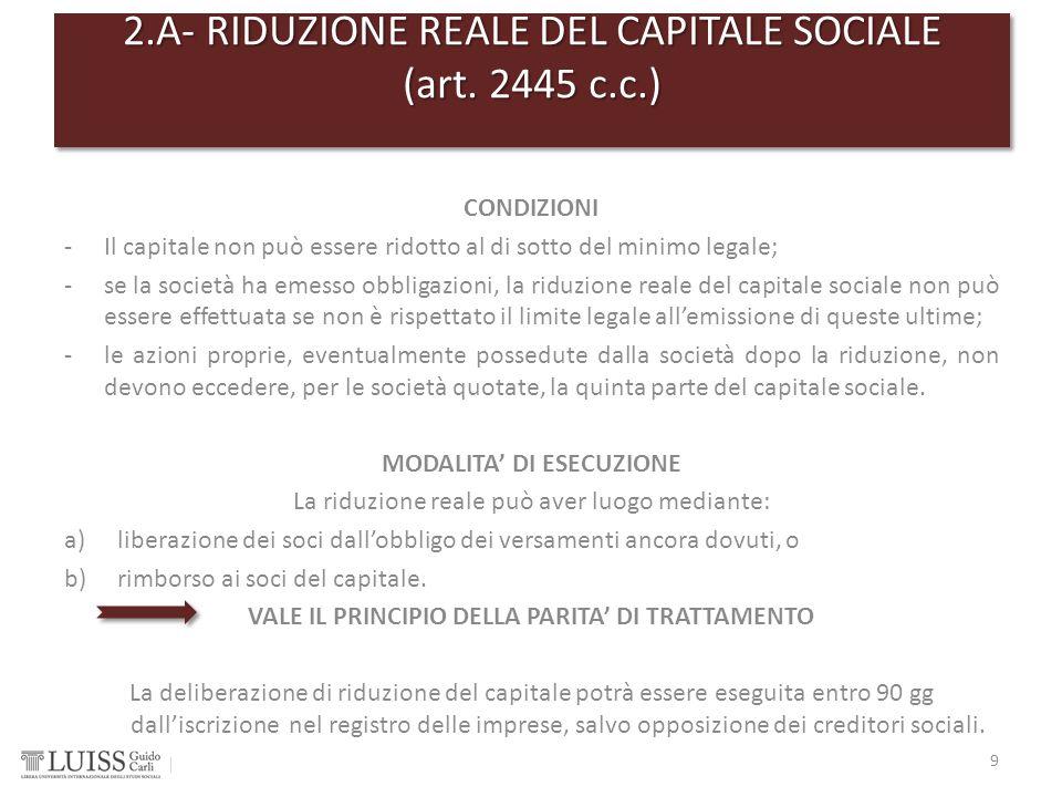 CONDIZIONI -Il capitale non può essere ridotto al di sotto del minimo legale; -se la società ha emesso obbligazioni, la riduzione reale del capitale s