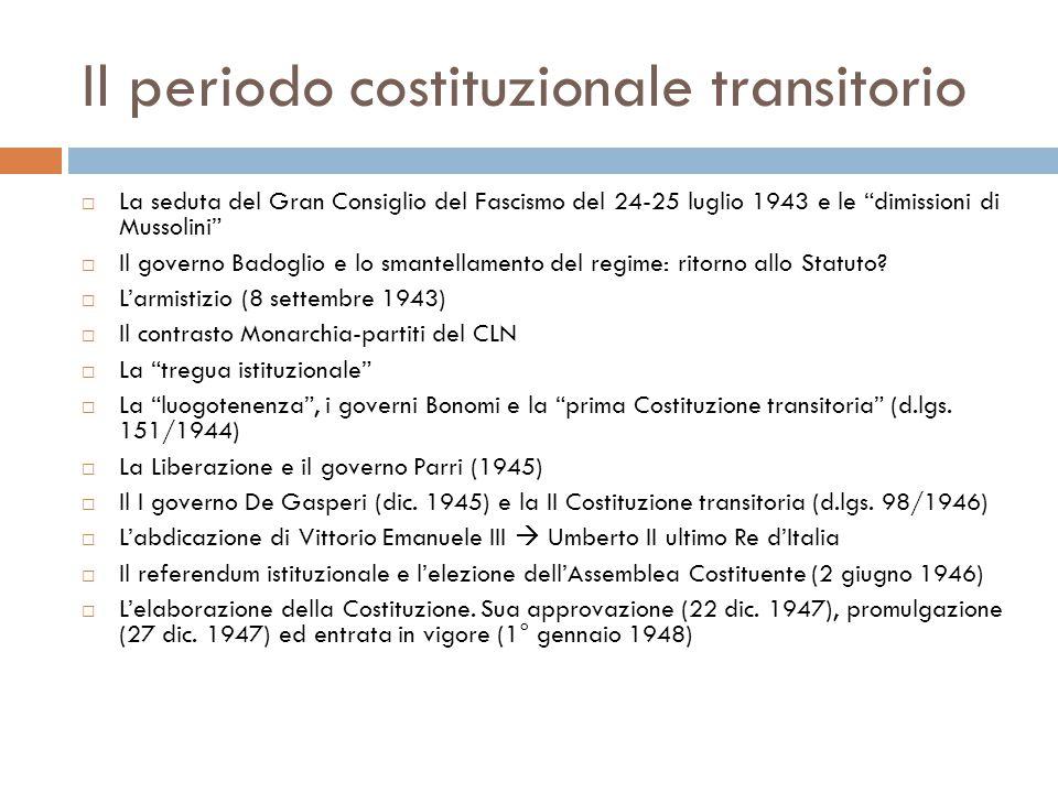 """Il periodo costituzionale transitorio  La seduta del Gran Consiglio del Fascismo del 24-25 luglio 1943 e le """"dimissioni di Mussolini""""  Il governo Ba"""
