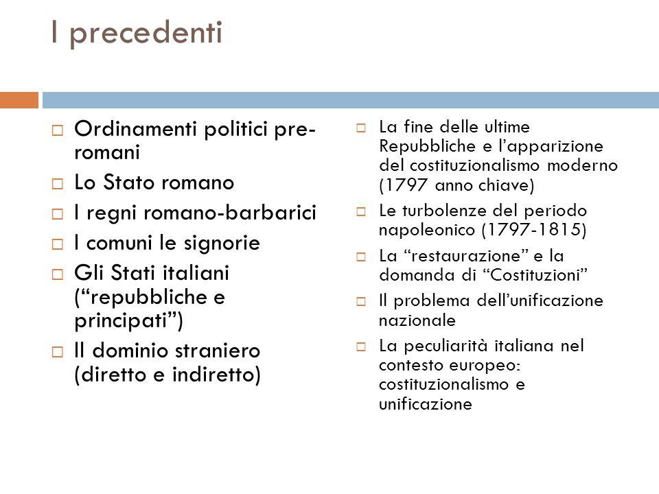 """I precedenti  Ordinamenti politici pre- romani  Lo Stato romano  I regni romano-barbarici  I comuni le signorie  Gli Stati italiani (""""repubbliche"""