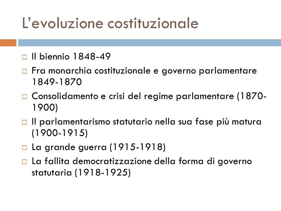 L'evoluzione costituzionale  Il biennio 1848-49  Fra monarchia costituzionale e governo parlamentare 1849-1870  Consolidamento e crisi del regime p