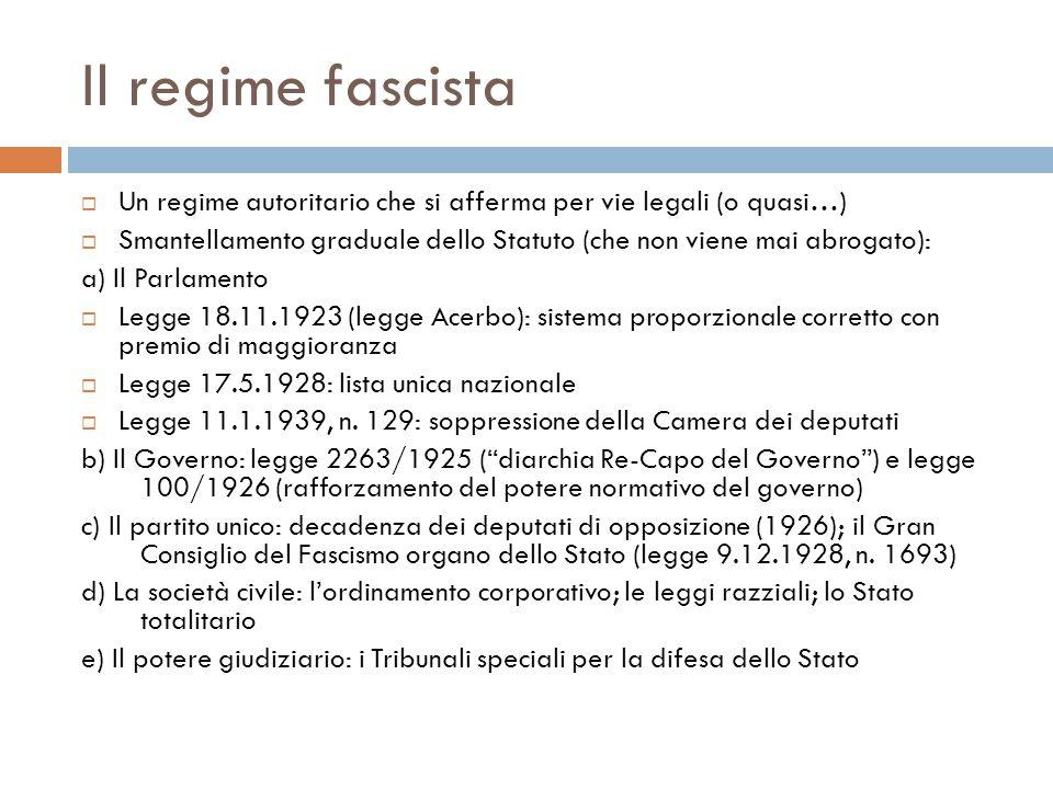 Il regime fascista  Un regime autoritario che si afferma per vie legali (o quasi…)  Smantellamento graduale dello Statuto (che non viene mai abrogat