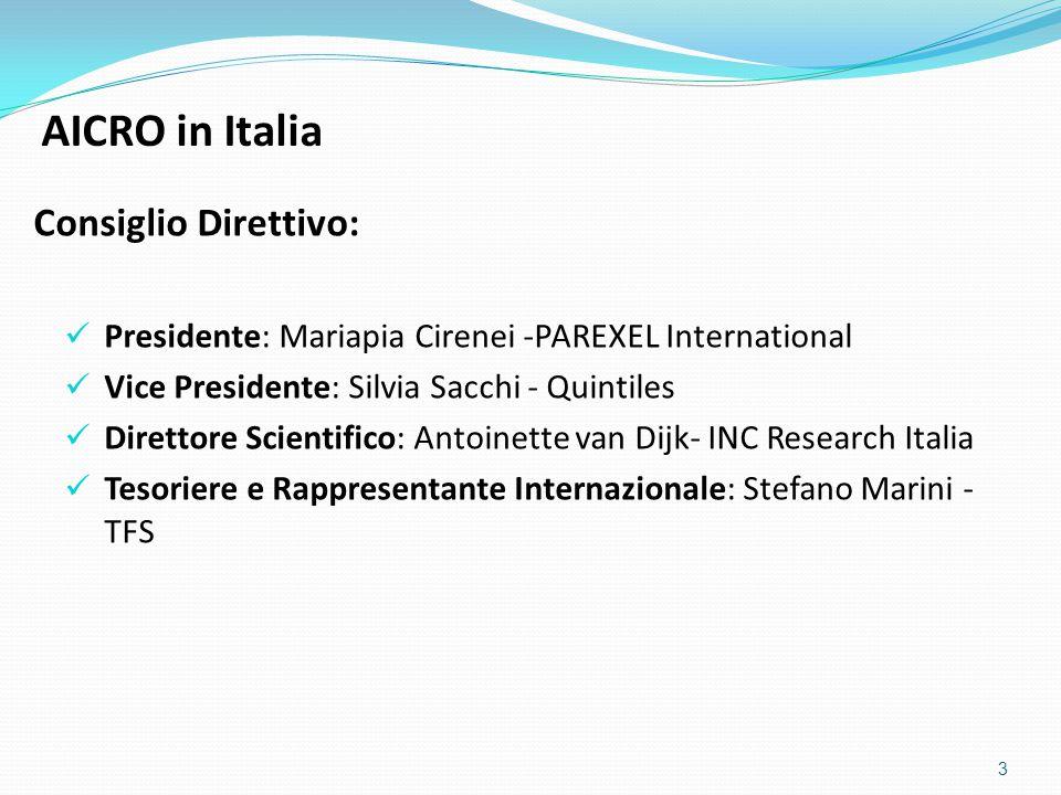 Consiglio Direttivo: Presidente: Mariapia Cirenei -PAREXEL International Vice Presidente: Silvia Sacchi - Quintiles Direttore Scientifico: Antoinette