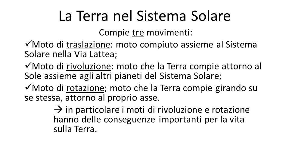 La Terra nel Sistema Solare Compie tre movimenti: Moto di traslazione: moto compiuto assieme al Sistema Solare nella Via Lattea; Moto di rivoluzione:
