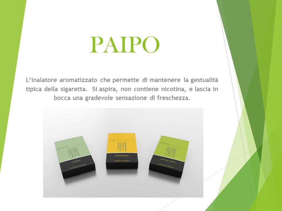 Il prodotto  Paipo è un inalatore aromatizzato di materiale plastico, che riproduce la forma di un bocchino per sigaretta tradizionale e che contiene un'ovatta aromatizzata con olii essenziali vegetali.