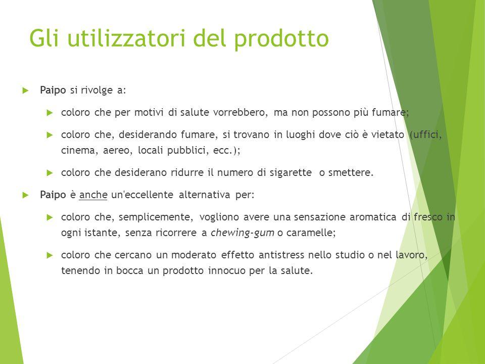 Gli utilizzatori del prodotto  Paipo si rivolge a:  coloro che per motivi di salute vorrebbero, ma non possono più fumare;  coloro che, desiderando
