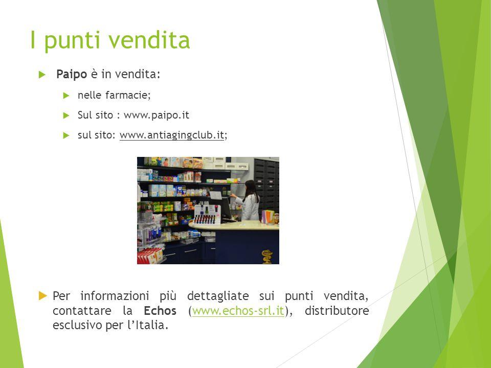 I punti vendita  Paipo è in vendita:  nelle farmacie;  Sul sito : www.paipo.it  sul sito: www.antiagingclub.it;  Per informazioni più dettagliate