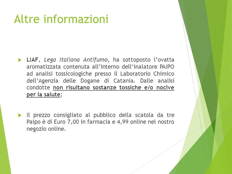 Altre informazioni  LIAF, Lega Italiana Antifumo, ha sottoposto l'ovatta aromatizzata contenuta all'interno dell'inalatore PAIPO ad analisi tossicolo