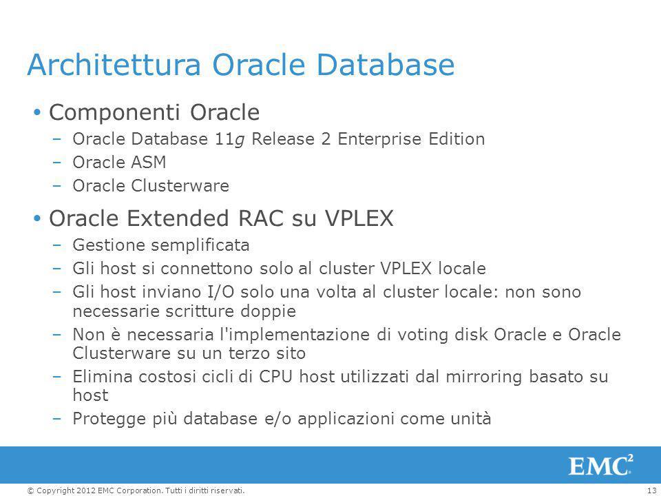 13© Copyright 2012 EMC Corporation. Tutti i diritti riservati. Architettura Oracle Database  Componenti Oracle –Oracle Database 11g Release 2 Enterpr