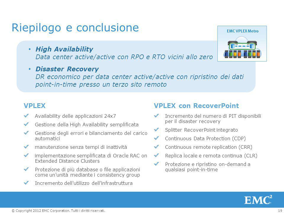 19© Copyright 2012 EMC Corporation. Tutti i diritti riservati. Riepilogo e conclusione High Availability Data center active/active con RPO e RTO vicin