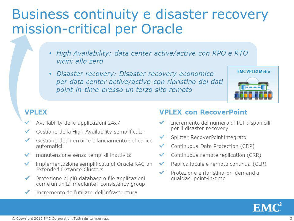 3© Copyright 2012 EMC Corporation. Tutti i diritti riservati. Business continuity e disaster recovery mission-critical per Oracle High Availability: d
