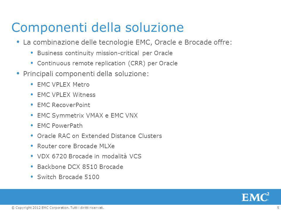 5© Copyright 2012 EMC Corporation. Tutti i diritti riservati.  La combinazione delle tecnologie EMC, Oracle e Brocade offre:  Business continuity mi