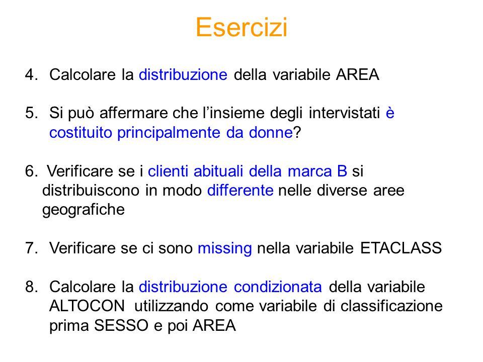 4.Calcolare la distribuzione della variabile AREA 5.Si può affermare che l'insieme degli intervistati è costituito principalmente da donne.